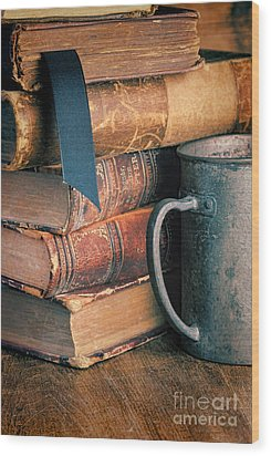 Stack Of Vintage Books Wood Print by Jill Battaglia