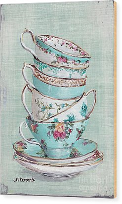 Stacked Aqua Themed Tea Cups Wood Print