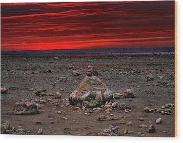 Stacked Beach Rocks Wood Print