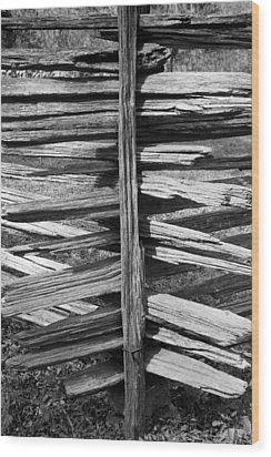 Stacked Fence Wood Print by Lynn Palmer