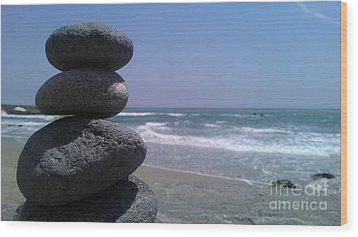 Stacked Rocks Wood Print by Chris Tarpening