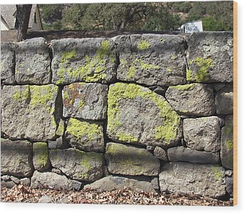 Stacked Stone Wall Wood Print