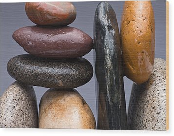 Stacked Stones 2 Wood Print by Steve Gadomski