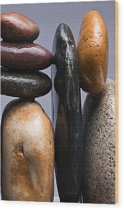 Stacked Stones 4 Wood Print by Steve Gadomski