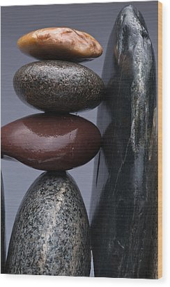 Stacked Stones 5 Wood Print by Steve Gadomski
