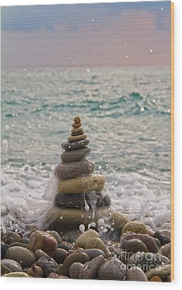 Stacking Stones Wood Print by Stelios Kleanthous