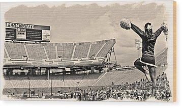 Stadium Cheer Black And White Wood Print