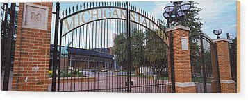 Stadium Of A University, Michigan Wood Print by Panoramic Images