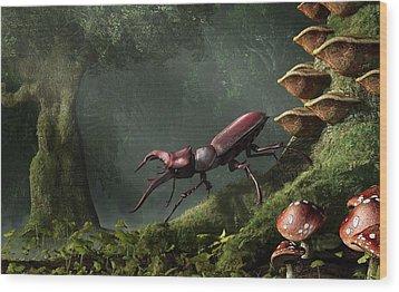Stag Beetle Wood Print by Daniel Eskridge