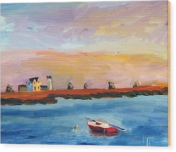 Stage Harbor Sunset Wood Print
