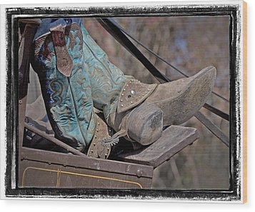 Stagecoach Cowboy's Boots Wood Print