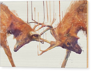 Stags // Strong Wood Print by Amy Hamilton