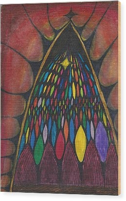 Stain Glass Window Drawing Wood Print by Cim Paddock
