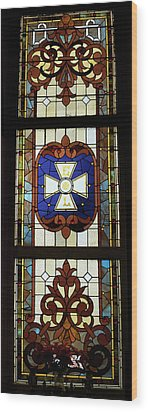 Stained Glass 3 Panel Vertical Composite 01 Wood Print by Thomas Woolworth