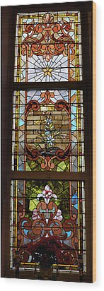 Stained Glass 3 Panel Vertical Composite 02 Wood Print by Thomas Woolworth