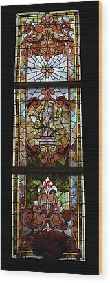 Stained Glass 3 Panel Vertical Composite 06 Wood Print by Thomas Woolworth