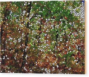 Stained Glass Autumn Colors In The Forest 1 Wood Print by Lanjee Chee
