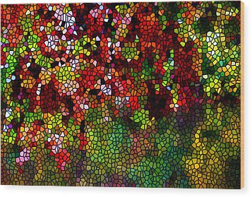 Stained Glass Autumn Leaves Reflecting In Water Wood Print by Lanjee Chee