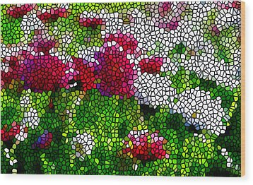 Stained Glass Chrysanthemum Flowers Wood Print by Lanjee Chee