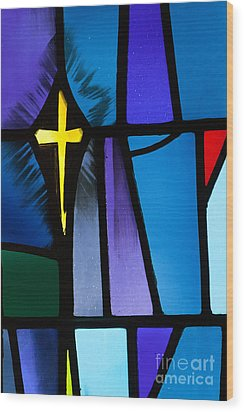 Stained Glass Cross Wood Print by Karen Lee Ensley