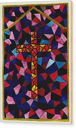 Stained Glass Cross Wood Print by Michael Vigliotti