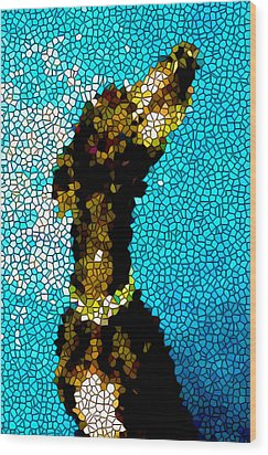Stained Glass Doberman Pinscher Dog Wood Print by Lanjee Chee