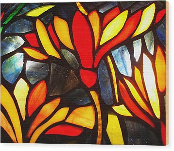 Stained Glass Eight Wood Print
