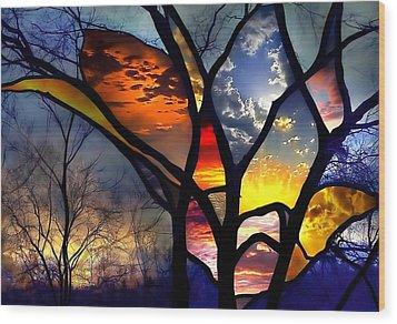 Stained Glass Flower Wood Print by Adam Orzechowski