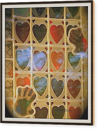Stained Glass Hands And Hearts Wood Print by Kathy Barney