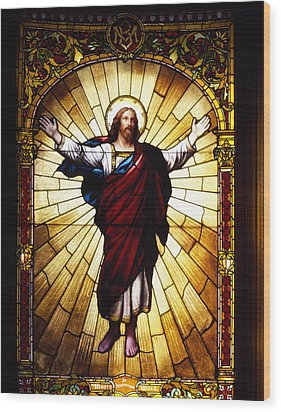 Stained Glass Jesus Wood Print by Mountain Dreams