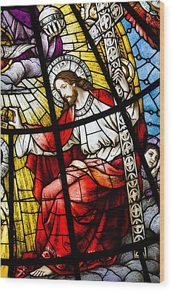 Stained Glass Jesus Wood Print by Dancasan Photography