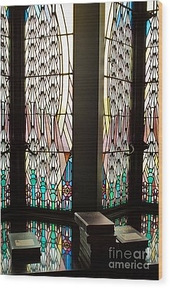 Stained Glass Wood Print by Lawrence Burry