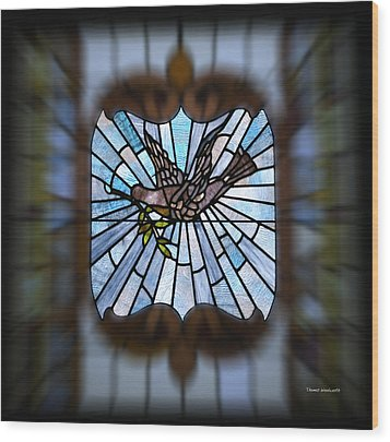 Stained Glass Lc 13 Wood Print by Thomas Woolworth