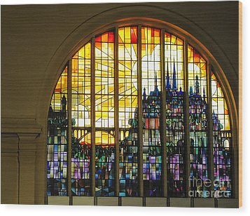 Stained Glass Luxembourg Wood Print