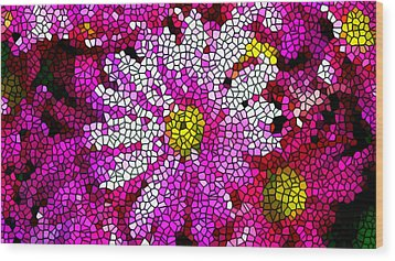 Stained Glass Pink Chrysanthemum Flower Wood Print by Lanjee Chee