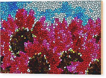 Stained Glass Red Sunflowers Wood Print by Lanjee Chee