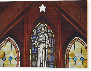 Stained Glass Saviour Wood Print by Al Powell Photography USA