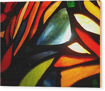 Stained Glass Seven Wood Print