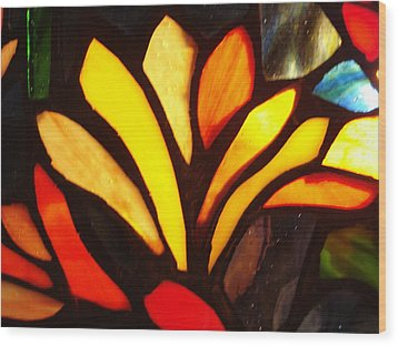 Stained Glass Six Wood Print