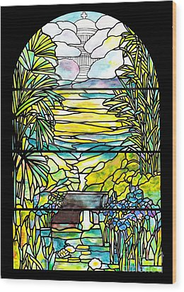 Stained Glass Tiffany Holy City Memorial Window Wood Print by Donna Walsh