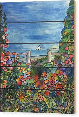 Stained Glass Tiffany Landscape Window With Sailboat Wood Print by Donna Walsh