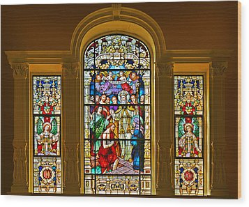 Stained Glass Window Cathedral St Augustine Wood Print by Christine Till
