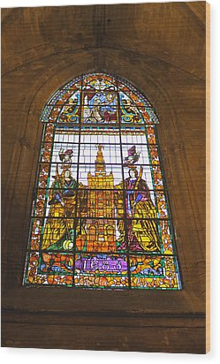 Stained Glass Window In Seville Cathedral Wood Print by Tony Murtagh