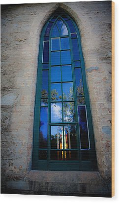 Stained Glass Window In Window Wood Print by Carole Hinding