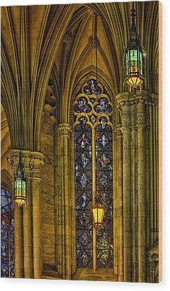 Stained Glass Windows At Saint Patricks Cathedral Wood Print by Susan Candelario