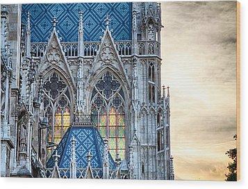 Stained Glass Windows Of Votive Church Wood Print by Viacheslav Savitskiy
