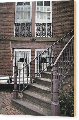Staircase And Shutters Wood Print by Linda Ryan
