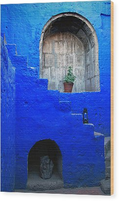 Staircase In Blue Courtyard Wood Print