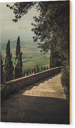 Staircase To Pienza Wood Print by Clint Brewer