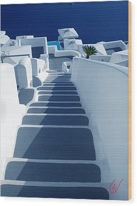 Stairs Down To Ocean Santorini Wood Print